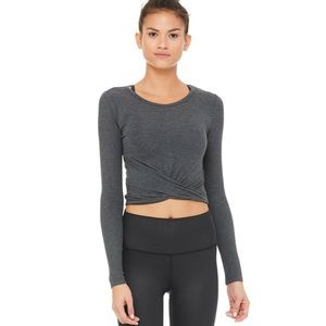 Alo Cover Long Sleeve Top in Anthracite